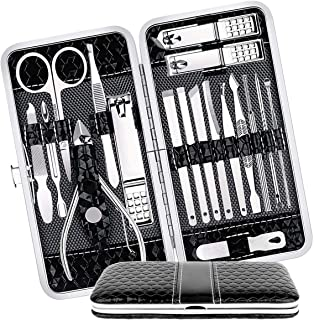 Manicure Set Nail Clippers Pedicure Kit 18 in 1 Tool Kit Stainless Steel Self Care Toenail Clippers Fingernail Cutter Ear ...