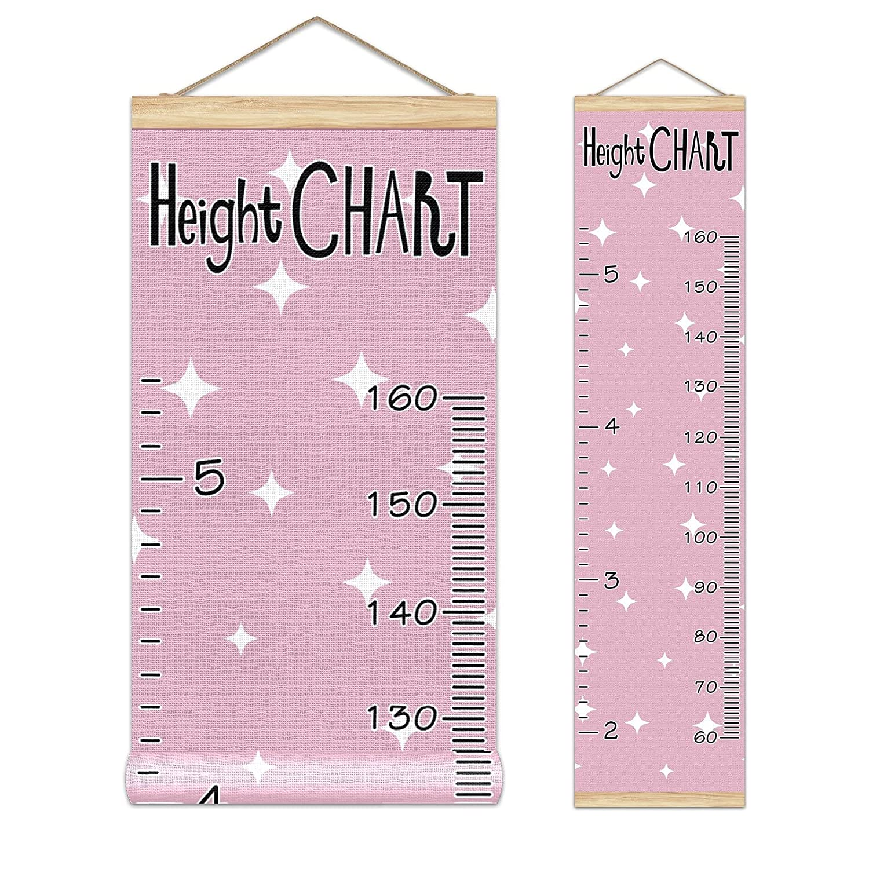 Growth Chart Kid's Height White On Purple Pink Stars Growt We ...