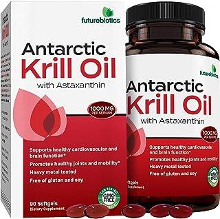 Futurebiotics Antarctic Krill Oil with Omega-3s EPA, DHA, Astaxanthin and Phospholipids - 100% Pure Premium Krill Oil Heavy Metal Tested, Non GMO – 90 Softgels