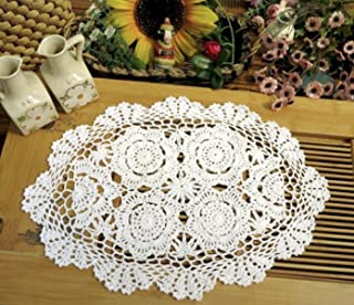 Phantomon Crochet Cotton Lace Placemats Doilies Crochet Doilies Coasters, Pack Of 4, Oval Shape, White, 12 x 17 inch, Sofa Cover Coasters, Cotton Placemats Table Cover(white)