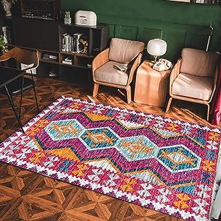 Tapis rond dans la chambre /à coucher Salon Table basse Table de chevet Ensemble de chaise pour ordinateur couleur solide Couleur : Rose, taille : Diam/ètre 60cm
