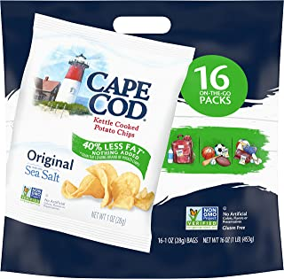 Cape Cod Potato Chips, Original Less Fat Kettle Cooked Chips, Snack Bags, 16 Count (Pack Of 6)