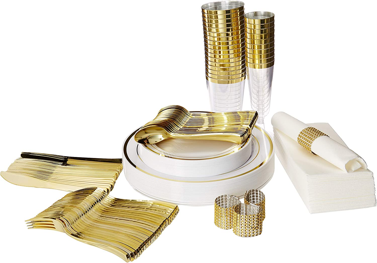 Plastic Dinnerware Set – TrueLook Tableware  24 Disposable Plates, Cups, Flutes, Napkins, Napkin Rings and Silverware - White and gold Plastic Plates for Parties, Wedding, Fancy Dinner Occasions