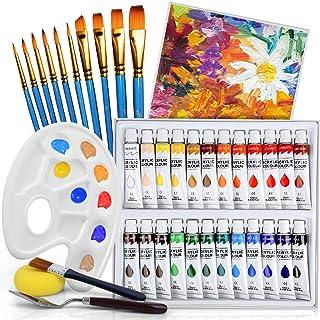 Flyqiuty Pinturas Acrílicas 24 colores (24 x 12 ml) para piedra/tela/vidrio/madera/pintura para manualidades, buena mezcla...