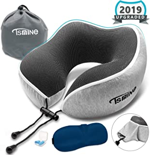 Tsmine Travel Neck Pillow Memory Foam - Head Chin Neck Pillow for Airplane Travel, Home, Neck Pain and Office with 3D Eye Mask Earplugs and Washable Fabric Cotton Cover - Grey