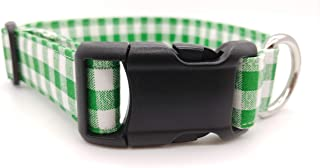 Green Gingham Dog Collar - Puppy Christmas Check Fabric - St Patrick's day shamrock - Checker plaid buffalo white - Adjustable - Handmade by Britches4Stitches