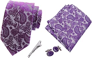 MENDENG Mens Burgundy Paisley Necktie Party Tie Clip Pocket Square Cufflinks Set