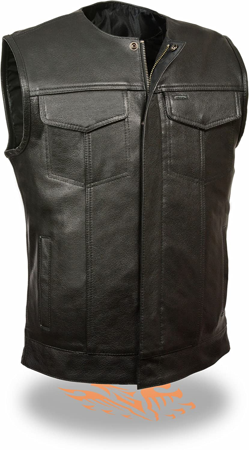Milwaukee Leather Men's Collarless Snap/Zip Front Leather Club Style Vest (Black, 4X)