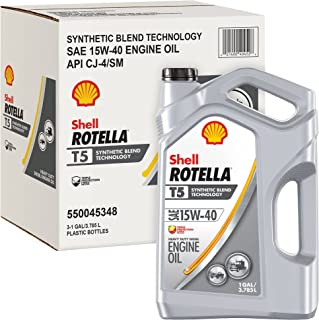 Rotella T5 Synthetic Blend Diesel Motor Oil, 15W-40 CK-4, 1