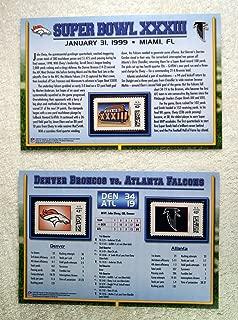 Super Bowl XXXIII (1999) - Official NFL Super Bowl Stamp Collection - 2 Pieces / 3 Stamps - Denver Broncos vs Atlanta Falcons - John Elway MVP