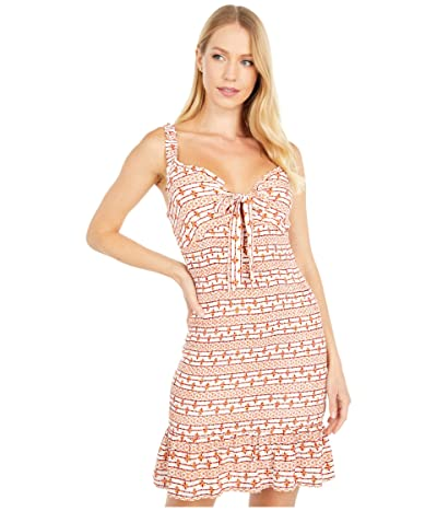 LOST + WANDER Someplace Tropical Mini Dress (Red Stripe Ethnic) Women