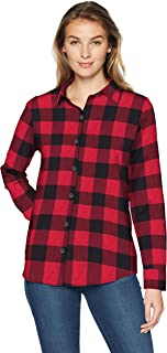 Amazon Essentials Women's Long-Sleeve Classic-Fit Lightweight Plaid Flannel Shirt