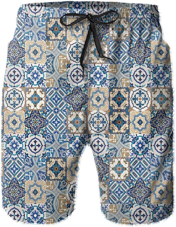 Tile Pattern with Portuguese Traditional Azulejo Motifs Oriental Curls Drawstring Waist Beach Shorts for Men Swim Trucks Board Shorts with Mesh Lining,L