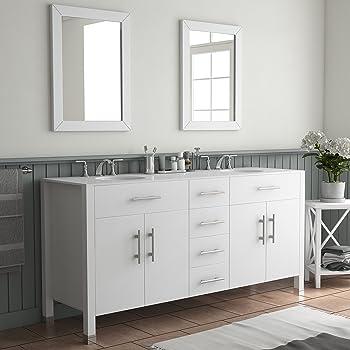 72 White Double Sink Bathroom Vanity Isabella Amazon Com