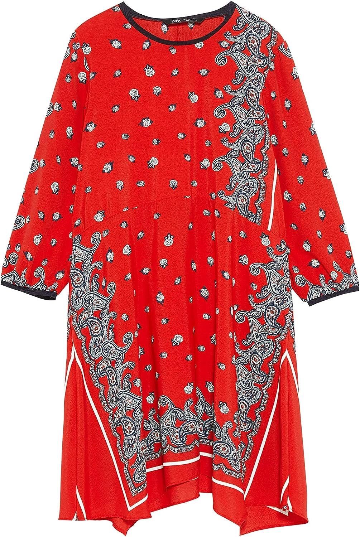 Zara 2395/367 - Vestido Estampado para Mujer X-Large : Amazon ...