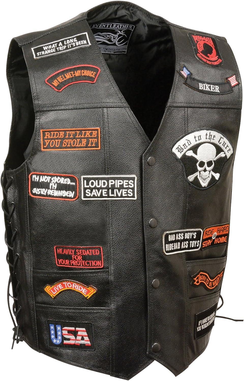 Event Leather Men's 23 Patches Vest