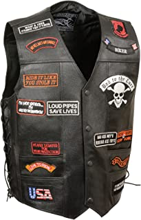 Event Leather Men's 23 Patches Vest (Black, XX-Large)