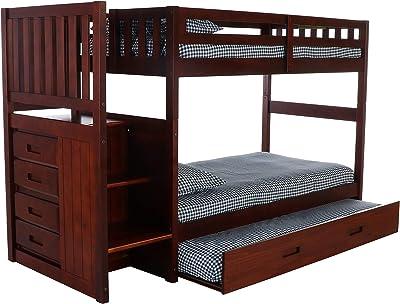 d4d7a53f9da5 Amazon.com  Joaquin Twin over Twin Convertible Loft Bed Brown ...