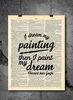 Vincent Van Gogh New Painting Dream Art Quote Dictionary Art Print - Vintage Dictionary Art Decor Home Vintage Art Abstract Prints Wall Art for Home Decor Wall Decorations - Print Only