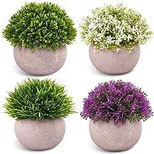 CEWOR - 4 paquetes de plantas artificiales de plástico sintético para decoración de escritorio, oficina, cuarto