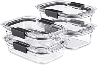 Rubbermaid Brilliance Glass Storage Set of 4 Food Containers with Lids (8 Pieces Total), BPA Free and Leak Proof, Medium, ...