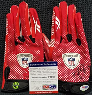 MICHAEL CRABTREE Signed Autographed San Francisco 49ers Gloves. - PSA/DNA Certified - NFL Autographed Game Used Gloves