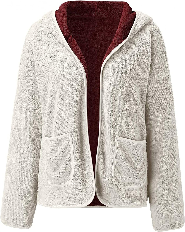 Changeshopping Womens Plush Coat Autumn Winter Fashion Hoodie Patchwork Long Sleeve Plush Zipper Coat Tops with Pockets