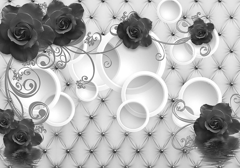 Wandmotiv24 Fototapete Fototapete Fototapete grau Rosan Ornamente Polster Perle 3D Kreise Wasser Blaumen Leder M3444 XXL 400 x 280 cm - 8 Teile Wandbild - Motivtapete B07MZ78R3T e8fb24