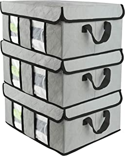 SOFTaCARE Storage Bags 3 PCS - Closet Organizer - Foldable Clothes Organizers and Storage. Storage Organizer with Hoop and Loop Fasteners Cover and Reinforced Handles (Grey, 19
