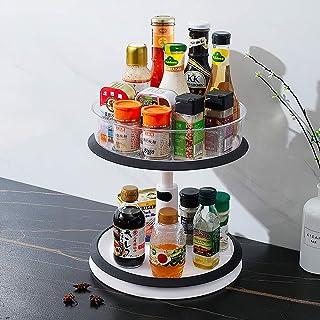 Qisiewell Lazy Susan Meuble de cuisine à 2 étages réglable en hauteur avec grande poubelle transparente