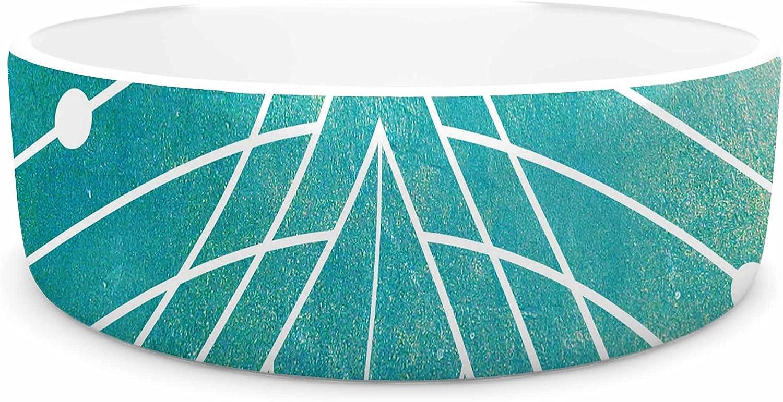 KESS InHouse Matt Eklund Atlantis  Teal Geometric Pet Bowl, 7