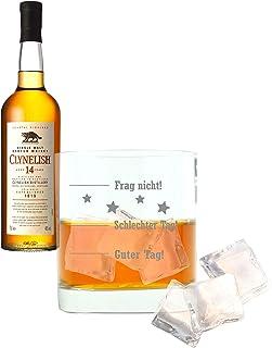 Whiskey 2er Set, Clynelish 14 Years / Jahre, Single Malt, Whisky, Scotch, Alkohol, Alokoholgetränk, Flasche, 46%, 700 ml, 665631, Geschenk zum Vatertag, mit graviertem Glas