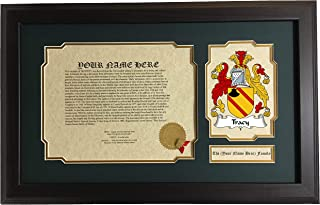 Tracy - Coat of Arms and Last Name History, 14x22 Inches Matted and Framed