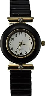 Women's Black Stretch Band Watch with Crystal Accents and Easy Read Dial