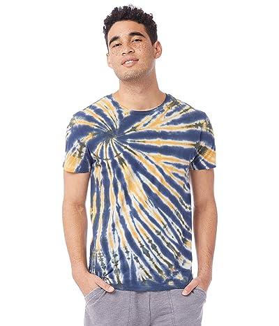 Alternative Distressed Heritage Tee (Navy Spiral Tie-Dye) Men