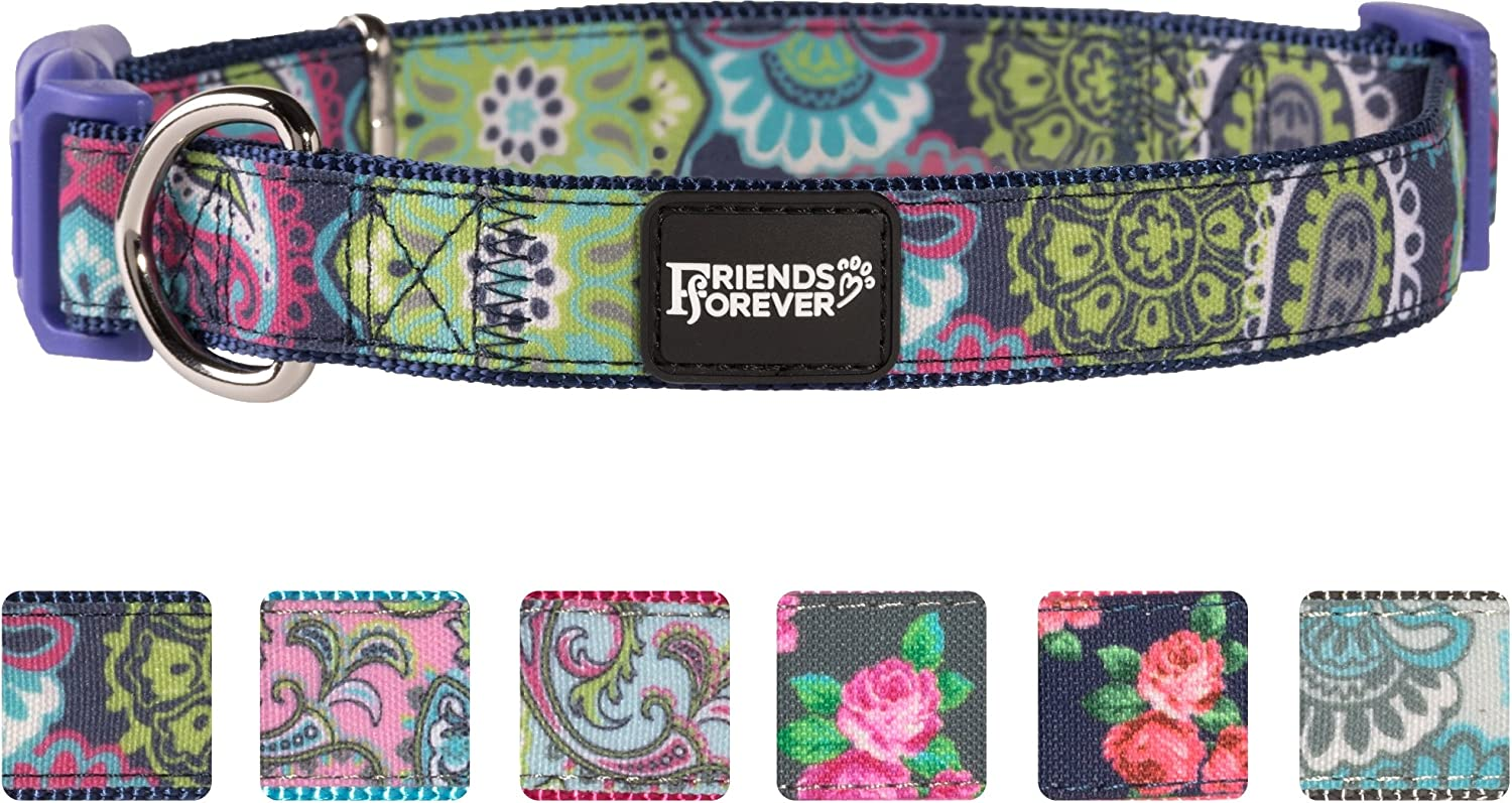 Friends Forever Dog Collar for Dogs, Fashion Print Paisley Pattern Cute Puppy Collar, Navy Large 1826