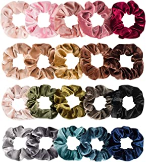 Whaline Hair Scrunchies Velvet Hair Bobble Elastics Winter Hair Bands Soft Hair Ties for VSCO Girls and Women (20 Colors)