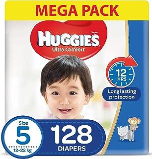 HUGGIES Ultra Comfort Diapers, Size 5, Jumbo Pack, 12-22 kg, 128 Diapers
