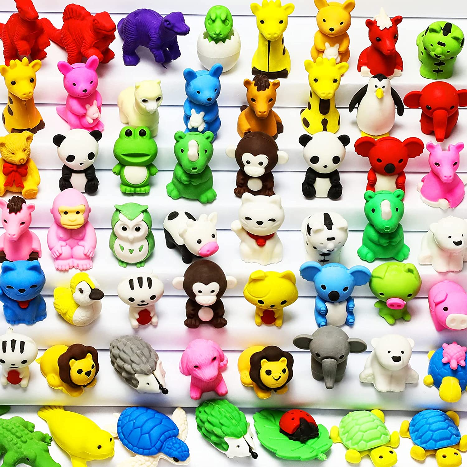 MGparty 60PCS Animal Erasers for Kids Pencil Erasers Puzzle Erasers 3D Mini Bulk Pull Apart Erasers for Birthday Party Favors Carnival Prizes Box Classroom Rewards Treasure Box Games Prizes