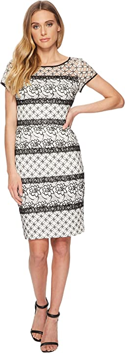 Adrianna Papell - Twin Lace Cap Sleeve Sheath