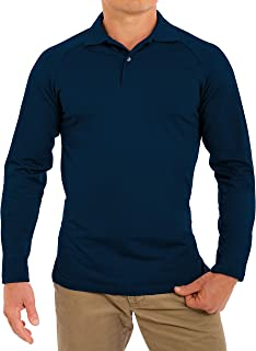CC Perfect Slim Fit Long Sleeve Polo Shirts for Men + Stretch   Soft Fitted Breathable Collared Mens Long Sleeve Polo Shirts