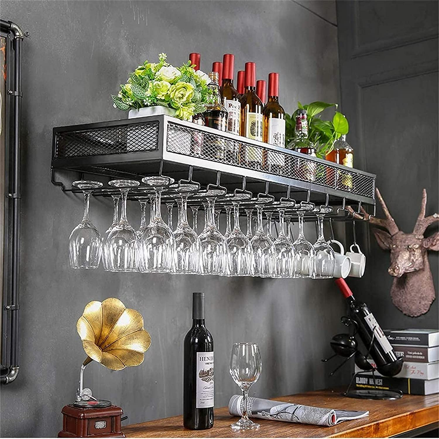 specialty shop GAXQFEI Large Metal Wine Chicago Mall Racks Tasting Hold Wall Glasses Mounted