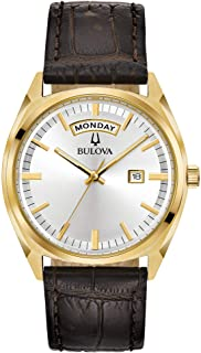 Bulova Men's Classic Stainless Steel Quartz Watch with Leather-Crocodile Strap, Brown, 20 (Model: 97C106)