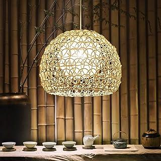 zzjj Lustre en Bambou,Suspension rotin,E27 Hauteur Adjustable Vintage Plafonnier Bambou Suspendue Main Moderne Osier Rotin...