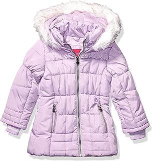 Girls' Faux Fur Bottom and Hood Matte Shimmer Satin Jacket