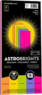 "Astrobrights Color #10 Envelopes, 4.125"" x 9.5"", 24 lb/89 GSM, ""Happy"" 5-Color Assortment, 50 Envelopes (20246)"