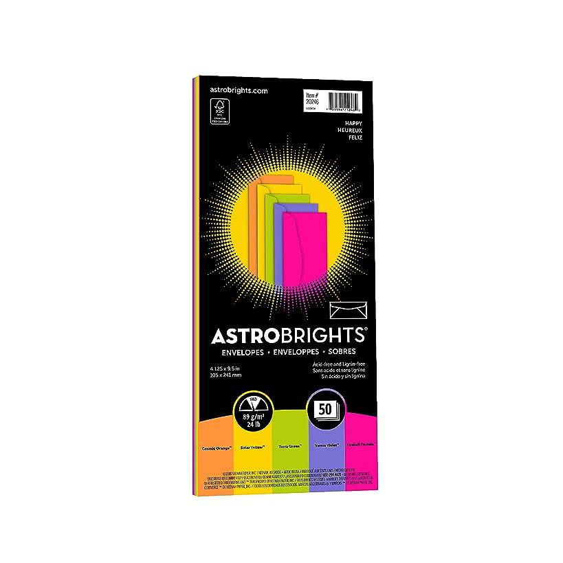 "Astrobrights Color #10 Envelopes, 4.125"" x 9.5"", 24 lb/89 GSM, ""Happy"" 5-Color Assortment, 50 Envelopes (20246)"