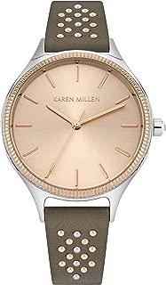 Karen Millen Women's Quartz Watch with Patent Leather Strap, red, 16 (Model: KM175E)