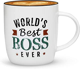 Gifffted The Worlds Best Boss Ever Coffee Mug, Bosses Day Gifts Ideas, Christmas Present For My Greatest Boss Male or Female, Men, Women, Office Gift Mugs, Birthday, Leaving, Vintage, Cup, 13 Oz