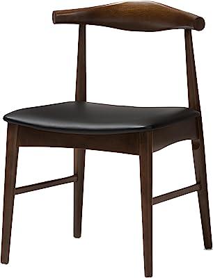 Baxton Studio 424-7949-AMZ Heinrich Dining Chair, Black/Walnut Brown